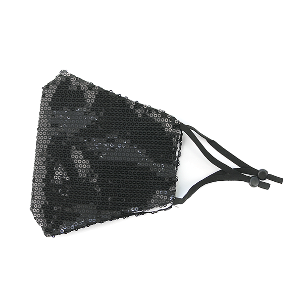 ADULT Black Sequin Adjustable Face Mask