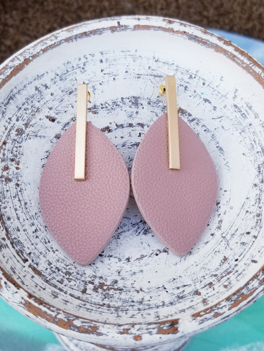 Faux Leather Mauve Earrings