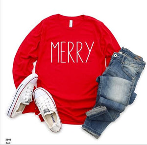 "CHRISTMAS ITEM OF THE DAY - 11/3 - RED LONG SLEEVE ""MERRY"" - ADULTS & YOUTH"