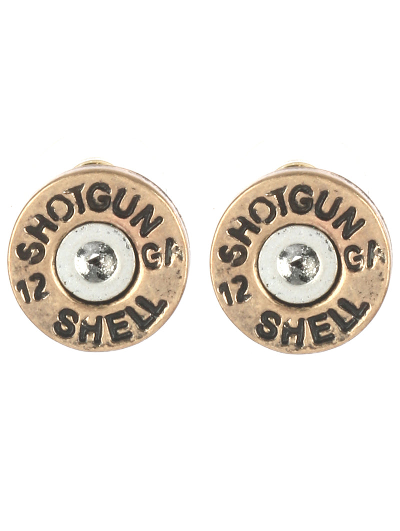 Hammered Shotgun Shell Stud Earrings