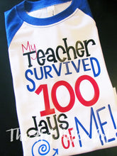 Load image into Gallery viewer, Boys 100th Day of School Shirt, My Teacher Survived 100 Days of Me - The Hot Polka Dot