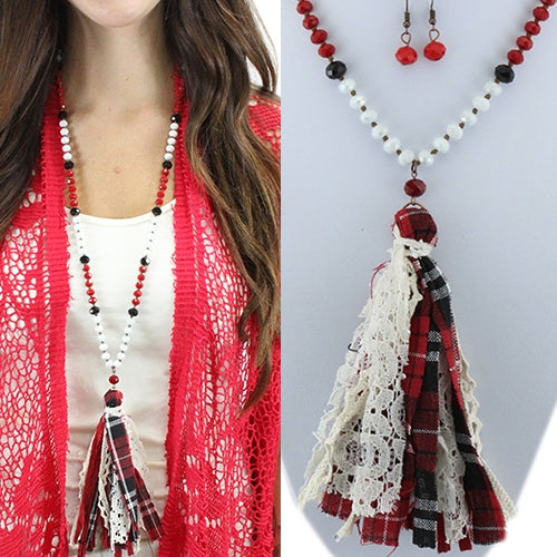 *CLEARANCE* Beaded Tassel Necklace and Earring Set - The Hot Polka Dot
