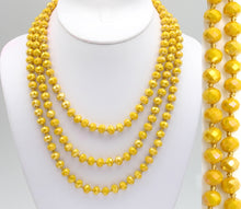 "Load image into Gallery viewer, 60"" MUSTARD Beaded Necklace - The Hot Polka Dot"