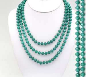 "60"" TURQUOISE Beaded Necklace - The Hot Polka Dot"