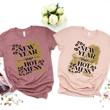 Load image into Gallery viewer, New Years Shirt 2020, New Year Same Hot Mess Gold Glitter and Leopard Choose Shirt Color and Style - The Hot Polka Dot