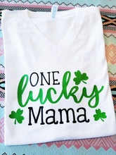 Load image into Gallery viewer, One Lucky Mama St. Patrick's Day Shirt, Lucky Mimi, Lucky Grammy, Lucky Nana, Choose Shirt Color - The Hot Polka Dot
