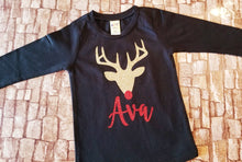 Load image into Gallery viewer, Personalized Christmas Deer Shirt for Girls, Long Sleeve Black Shirt Gold Glitter Deer - The Hot Polka Dot
