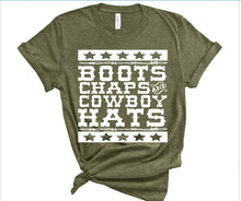 Load image into Gallery viewer, Boots Chaps Cowboy Hats Shirt or Tank,  Choose Style & Colors - The Hot Polka Dot