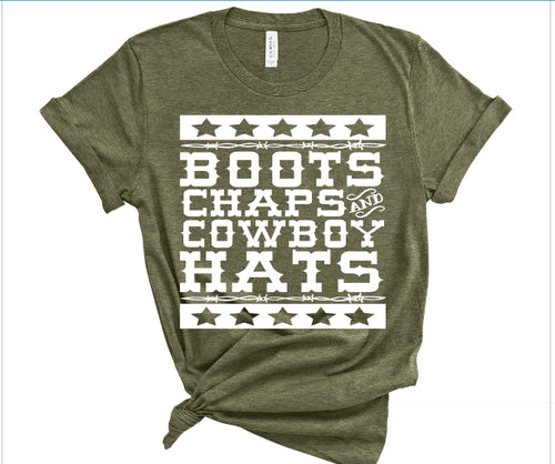 Boots Chaps Cowboy Hats Shirt or Tank,  Choose Style & Colors - The Hot Polka Dot