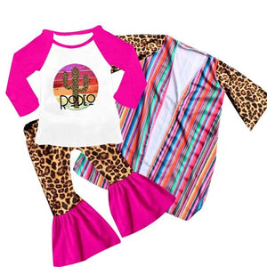 SALE / Toddler 3T Rodeo Outfit, 3 Piece Set, Leopard Bell Flares, Serape Cardigan & Top - The Hot Polka Dot