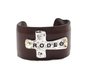 """RODEO"" Hammered Cross Plate Leather Cuff Bracelet - The Hot Polka Dot"