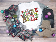 Load image into Gallery viewer, Jingle Bells Christmas Shirt, Leopard Print Funky Letters, Choose Shirt, Raglan, or Sweatshirt - The Hot Polka Dot