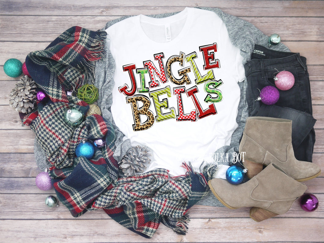 Jingle Bells Christmas Shirt, Leopard Print Funky Letters, Choose Shirt, Raglan, or Sweatshirt - The Hot Polka Dot