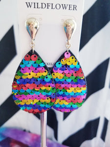 EXTRA COLLECTIONS Colorful Sequin Scale Teardrops