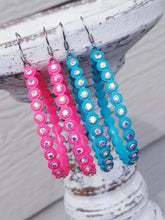 Load image into Gallery viewer, NEON PINK or TURQUOISE Side Bling Teardrop Earrings - The Hot Polka Dot