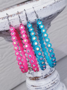 NEON PINK or TURQUOISE Side Bling Teardrop Earrings - The Hot Polka Dot