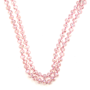 "60"" Clear PINK Beaded Necklace - The Hot Polka Dot"