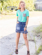 Load image into Gallery viewer, SO FRAY ME JEAN Denim SKIRT ~ Crazy Train - The Hot Polka Dot