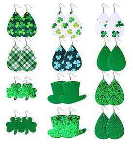 St. Patrick's Day Themed Earrings, Pick Your Favorite, Faux Leather Earrings - The Hot Polka Dot