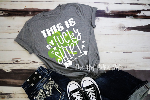 This is My Lucky Shirt, Distressed Shamrock, St. Patrick's Day Shirt, Choose Shirt Color - The Hot Polka Dot