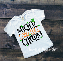 Load image into Gallery viewer, Mister GOOD LUCK Charm, Boys St. Patrick's Day Shirt, Choose Shirt Style and Color - The Hot Polka Dot