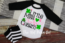 Load image into Gallery viewer, Little Miss LUCKY CHARM, Girls St. Patrick's Day Shirt, Choose Shirt Style and Color - The Hot Polka Dot
