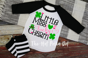 Little Miss LUCKY CHARM, Girls St. Patrick's Day Shirt, Choose Shirt Style and Color - The Hot Polka Dot