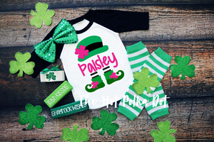 Girls Personalized Leprechaun Shirt, St Patrick's Day Shirt, Choose Shirt Style and Color - The Hot Polka Dot