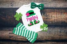 Load image into Gallery viewer, Girls Personalized Leprechaun Shirt, St Patrick's Day Shirt, Choose Shirt Style and Color - The Hot Polka Dot