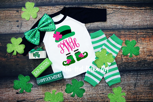 Girls Personalized MONOGRAM Initials Leprechaun Shirt, St Patrick's Day Shirt, Choose Shirt Style and Color - The Hot Polka Dot