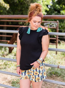 SUMMER TIME SUNFLOWER FRINGE SHORTS ~ Crazy Train - The Hot Polka Dot