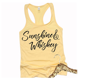Sunshine & Whiskey Shirt or Tank, Choose Style & Colors - The Hot Polka Dot