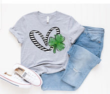 Load image into Gallery viewer, Heart & Green Clover Tee, St. Patrick's Day Shirt, Choose Shirt Color - The Hot Polka Dot