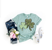 Load image into Gallery viewer, Mommy & Me Set of 2 Double Shamrock Lucky Tee, Leopard Print Clover St. Patrick's Day Shirt, Choose Shirt Color - The Hot Polka Dot