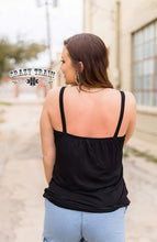 Load image into Gallery viewer, BLACK Tank Me Later Lace Trim Tank ~ CRAZY TRAIN - The Hot Polka Dot