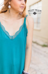 TEAL Tank Me Later Lace Trim Tank ~ CRAZY TRAIN - The Hot Polka Dot