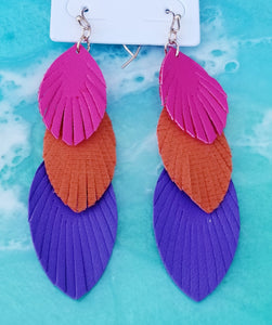 Colorful Feather Trio Earrings - Choose Your Color