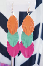 Load image into Gallery viewer, Colorful Feather Trio Earrings - Choose Your Color