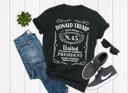 DONALD TRUMP President Whiskey Label Graphic Tee, Men's Graphic Tee