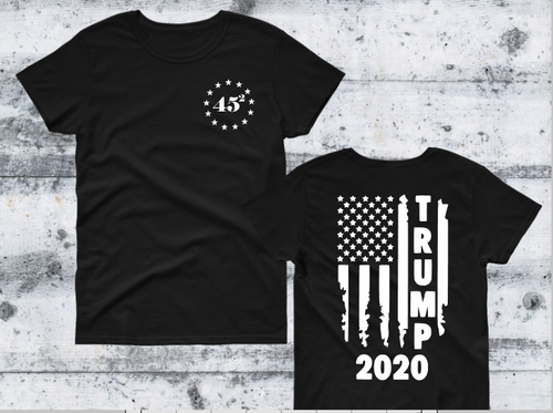 TRUMP 2020 Distressed Flag Back Design, 45 Front Men's Graphic Tee