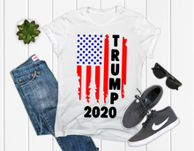 Load image into Gallery viewer, TRUMP 2020 Distressed Flag Front Design, Men's Graphic Tee