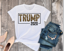 Load image into Gallery viewer, Leopard Print Trump 2020 Graphic Tee, Adult Unisex TShirt or Raglan