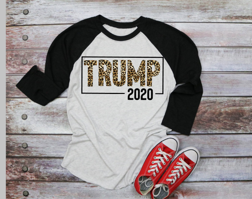 Leopard Print Trump 2020 Graphic Tee, Adult Unisex TShirt or Raglan