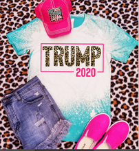 Load image into Gallery viewer, *BLEACHED* Teal Leopard Print Trump 2020 Graphic Tee