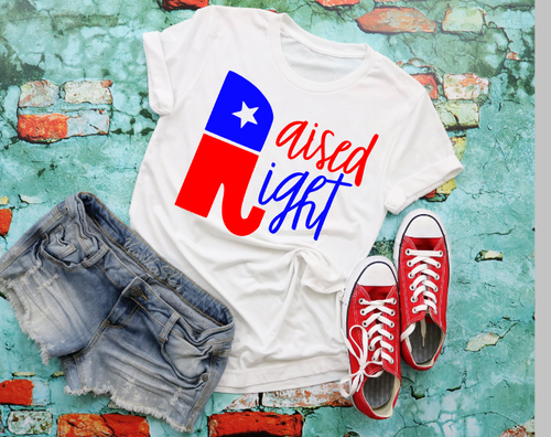 Womens Raised Right Graphic Tee, Unisex TShirt, Trump 2020