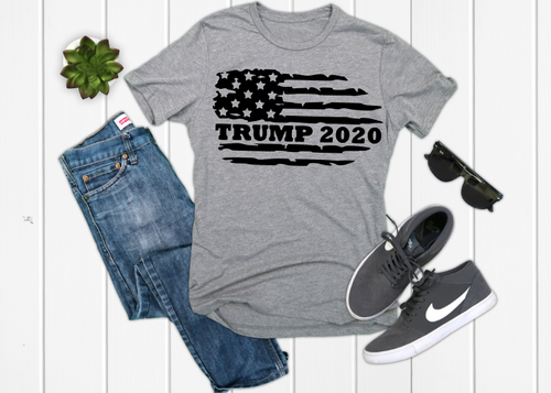 TRUMP 2020 Distressed Flag Front Design, Men's Graphic Tee