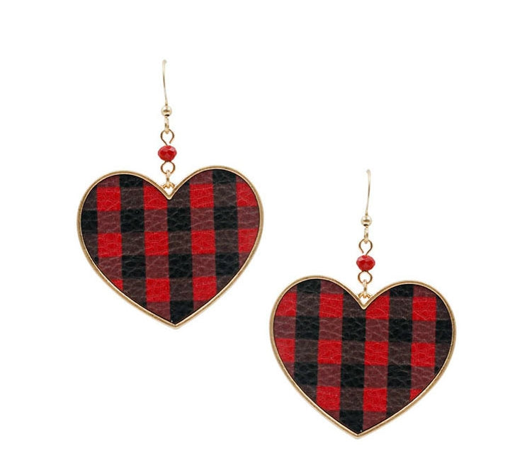 Buffalo Plaid Heart Earrings, Valentine's Day Earrings - The Hot Polka Dot
