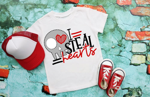 I STEAL Hearts with Skull Boys Valentine's Day Shirt, Boys Valentine's Day Shirt, Choose Shirt Style - The Hot Polka Dot