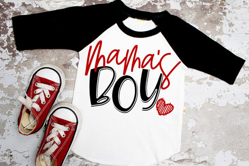 MAMA's Boy Valentine's Day Shirt, Boys Valentine's Day Shirt, Choose Shirt Style - The Hot Polka Dot