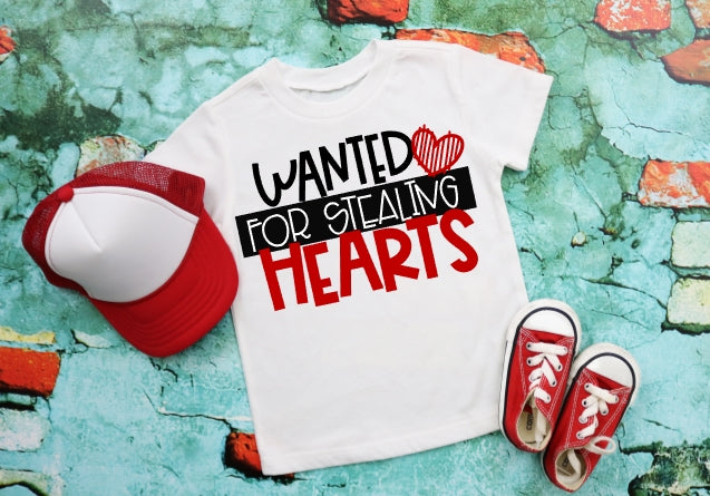 Wanted to Stealing Hearts Valentine's Day Shirt, Boys Valentine's Day Shirt, Choose Shirt Style - The Hot Polka Dot